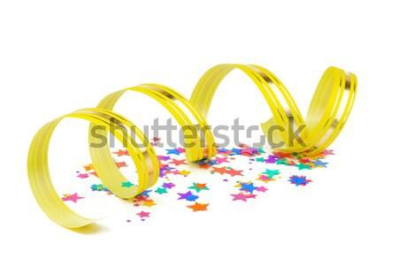 Konfetti citromsárga szalag tarka forma csillagok Stock fotó © Epitavi