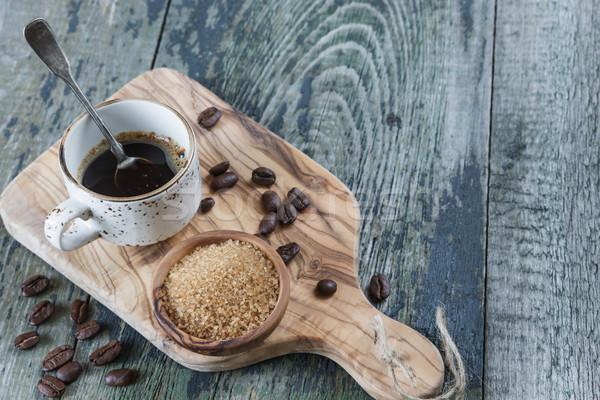Zwarte koffie riet suiker oude koffiekopje zilver Stockfoto © Epitavi
