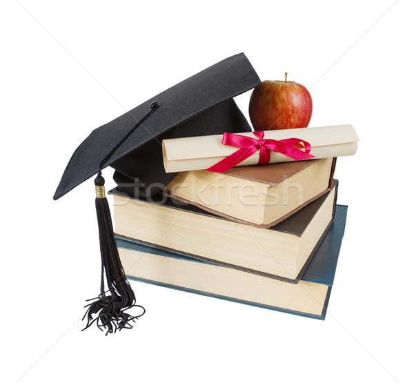 大学院 帽子 図書 リンゴ スクロール 黒 ストックフォト © Epitavi