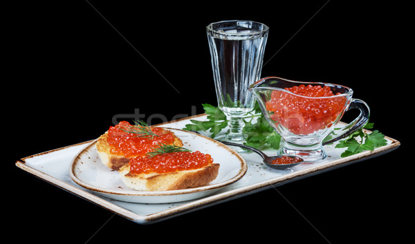 Rouge caviar vodka sandwiches poissons oeufs Photo stock © Epitavi