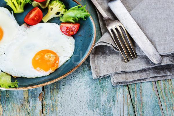 Stok fotoğraf: Iki · yumurta · sebze · kahvaltı · eski