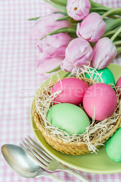 Basket with flowers and Easter eggs Stock photo © Epitavi