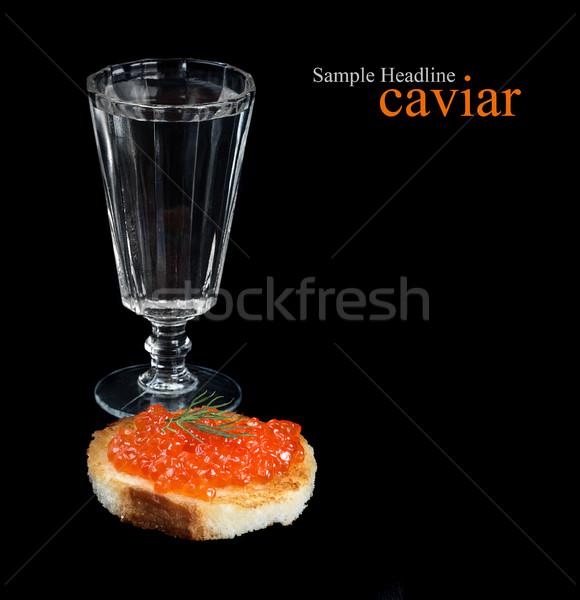 Votka balık yumurta cam yalıtılmış siyah Stok fotoğraf © Epitavi