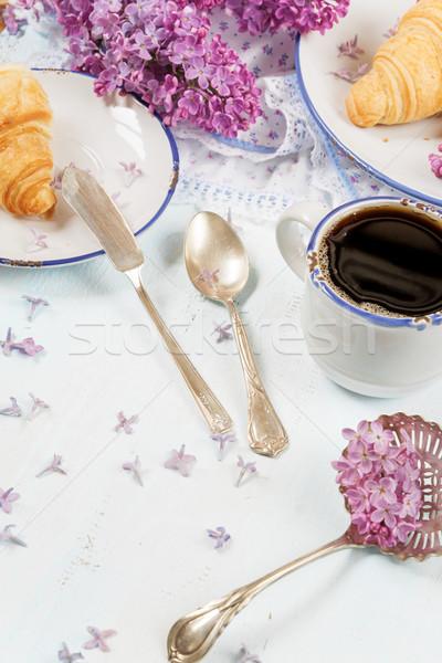 春 朝食 コーヒー クロワッサン カップ ブラックコーヒー ストックフォト © Epitavi