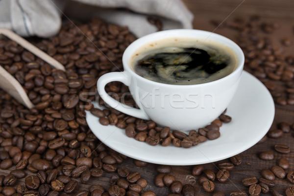 カップ コーヒー 白 コーヒー豆 背景 ストックフォト © Epitavi