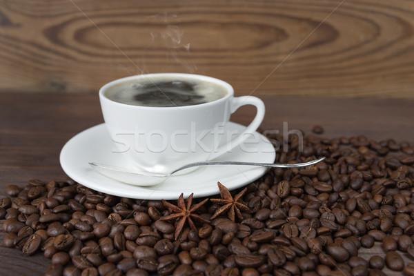 カップ コーヒー コーヒー豆 木製 背景 ドリンク ストックフォト © Epitavi