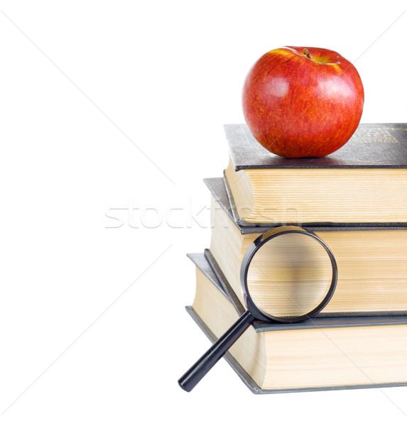 Livros lupa maçã vermelha isolado branco Foto stock © Epitavi
