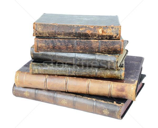 Starych książek twarda oprawa odizolowany biały Zdjęcia stock © Epitavi