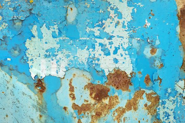 Multicolore superficie metallica arrugginito blu vernice sfondo Foto d'archivio © Epitavi