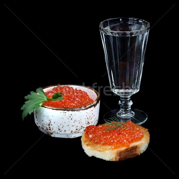 Vodka and fish eggs Stock photo © Epitavi