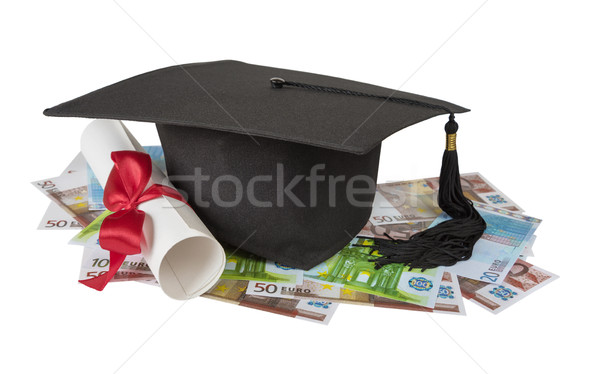 Stock photo: Graduate cap, banknotes and scroll