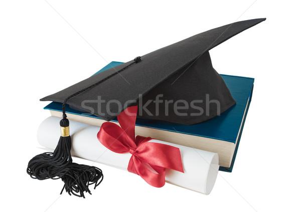 Mezun şapka kitap ilerleyin siyah büyük Stok fotoğraf © Epitavi