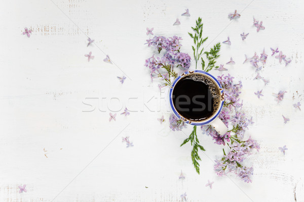 Coffee and purple lilac Stock photo © Epitavi
