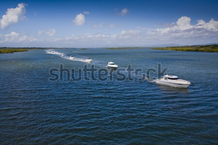 группа небольшой Motor лодках морем изображение Сток-фото © epstock
