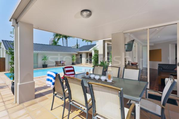 entertainment area outside of modern australian home Stock photo © epstock