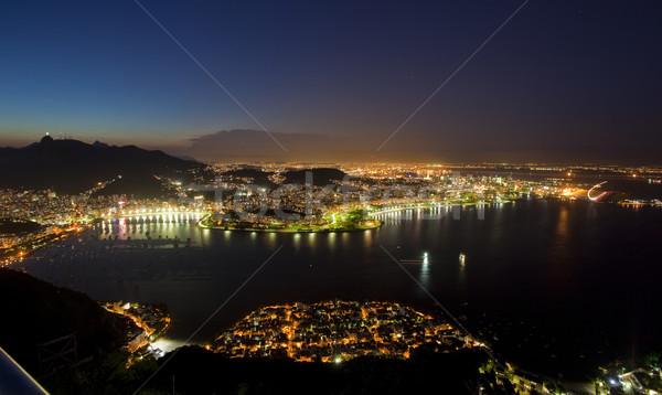 éjszaka Rio de Janeiro Brazília cukor cipó hegy Stock fotó © epstock