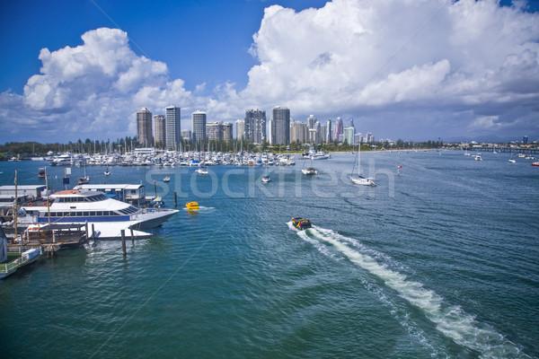 Groot jachthaven stad afbeelding boten Stockfoto © epstock
