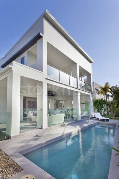 Modern house with swimming pool Stock photo © epstock