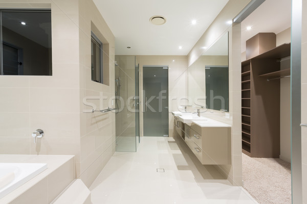 Master bathroom in new modern home Stock photo © epstock