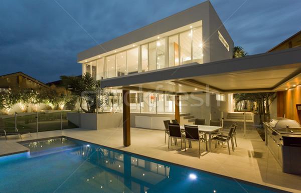 Udvar modern úszómedence ausztrál palota ház Stock fotó © epstock