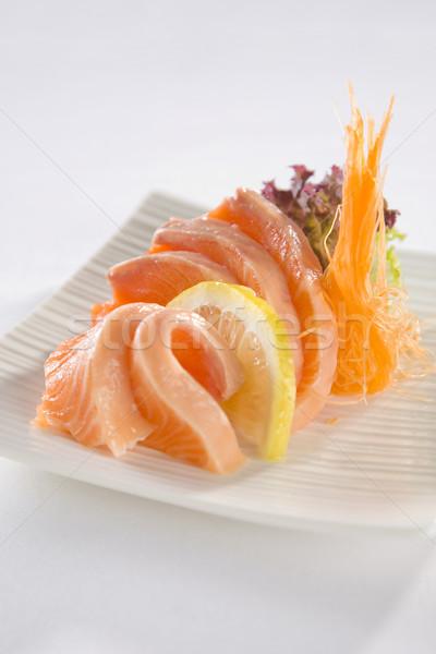 łososia sashimi tablicy sushi serwowane biały Zdjęcia stock © epstock