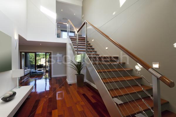 Modern házbelső lépcsőház elegáns tájkép otthon Stock fotó © epstock