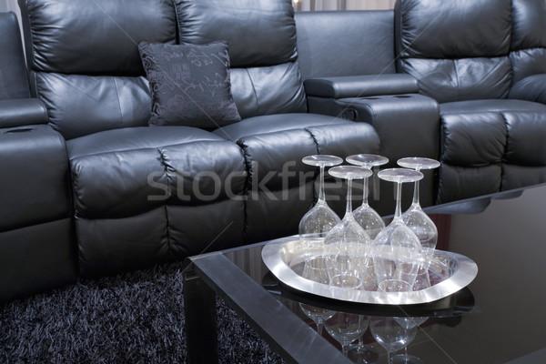 Stock fotó: Otthon · színház · székek · fekete · igazgató · bőr