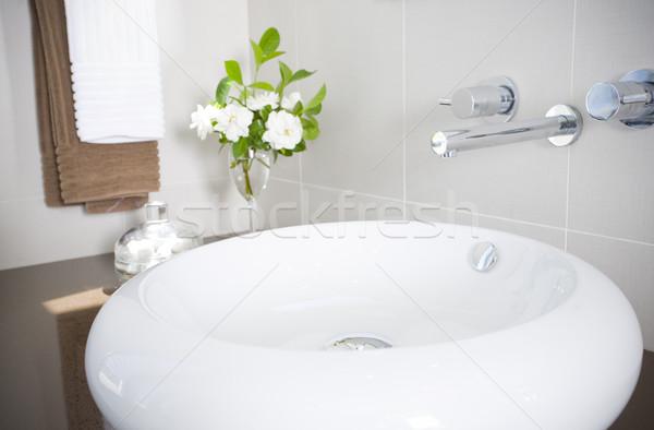 Nieuwe wastafel kraan roestvrij staal witte moderne Stockfoto © epstock