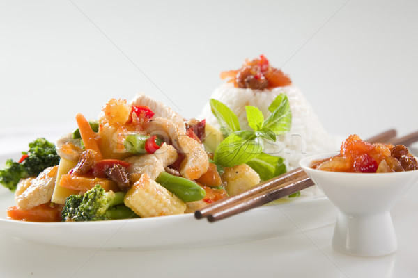 Kip asian chinese peper rijst Stockfoto © epstock