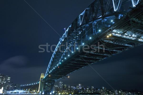 Foto stock: Sydney · porto · ponte · noite · cidade · arquitetura