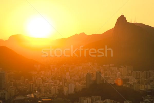 Foto stock: Pôr · do · sol · jesus · raio · pão · montanha · viajar