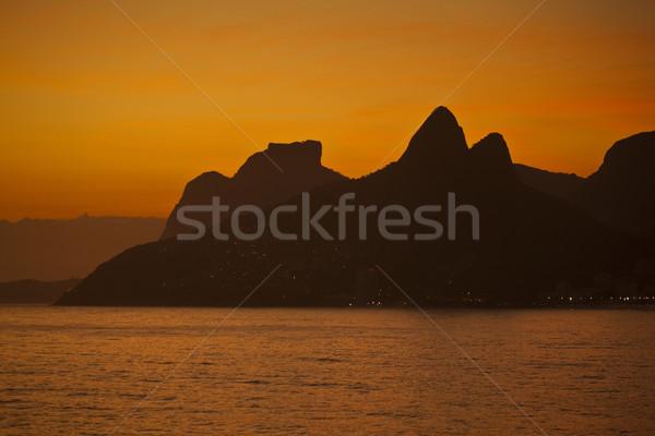 Praia Rio de Janeiro Brasil pôr do sol mar viajar Foto stock © epstock