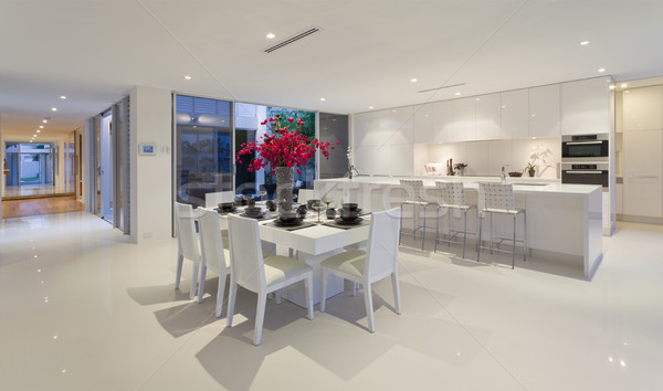 Stock photo: Dining area and kitchen