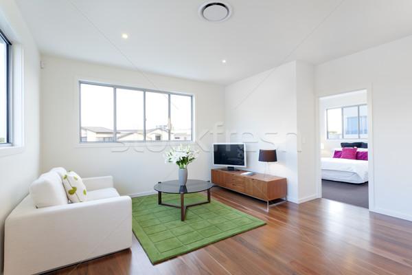 Piccolo moderno soggiorno tv divano luce Foto d'archivio © epstock