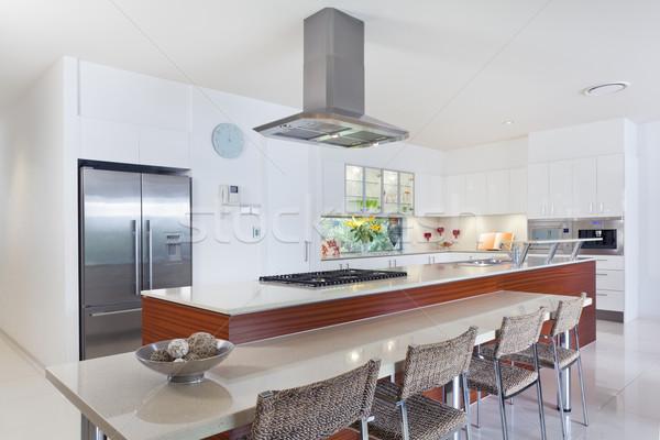 Stockfoto: Moderne · keuken · roestvrij · staal · australisch · herenhuis