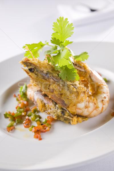 Mély sült garnéla étel hal eszik Stock fotó © epstock