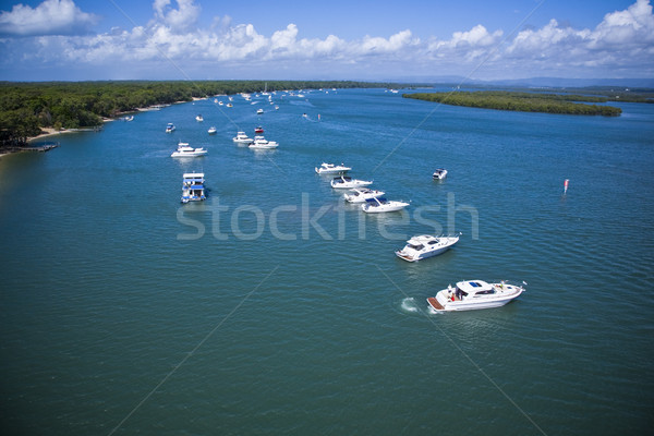 A group of yachts lined up in the sea Stock photo © epstock