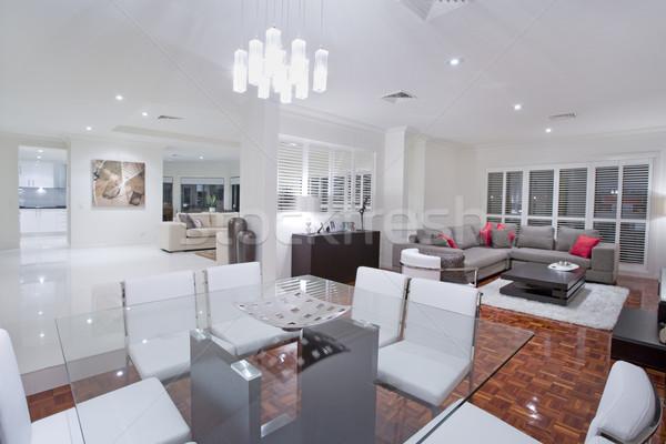 Luxuoso sala de jantar vida quartos cozinha financiar Foto stock © epstock