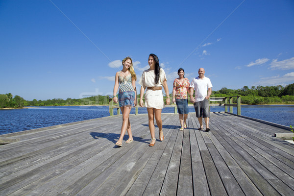 family walking on viewing platform by the creek Stock photo © epstock