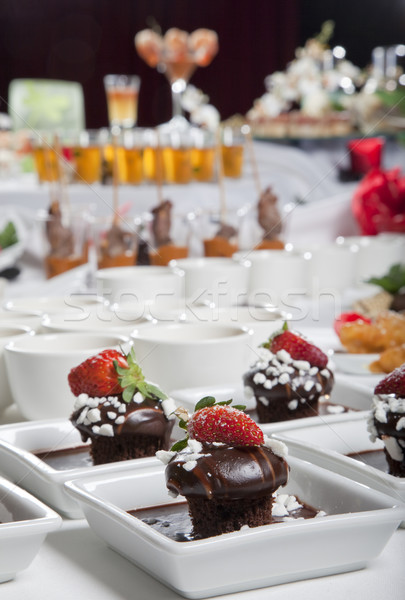 Stock photo: Asian Fusion appetizers and desserts on table