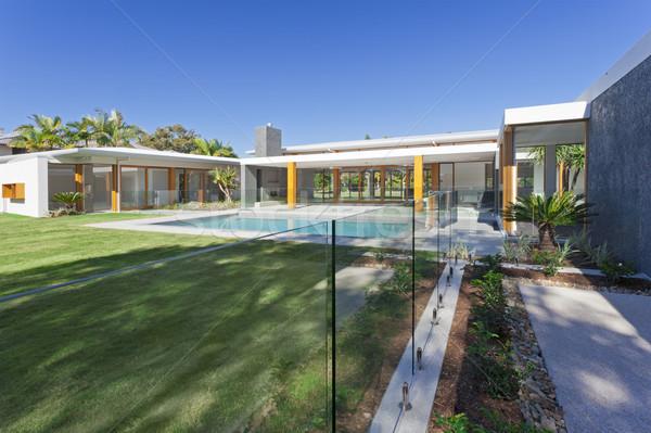 Stockfoto: Luxueus · herenhuis · moderne · zwembad · australisch