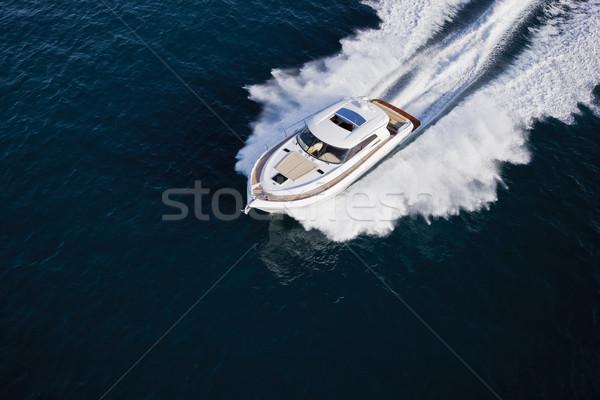Luxurious yacht cruising through the sea Stock photo © epstock