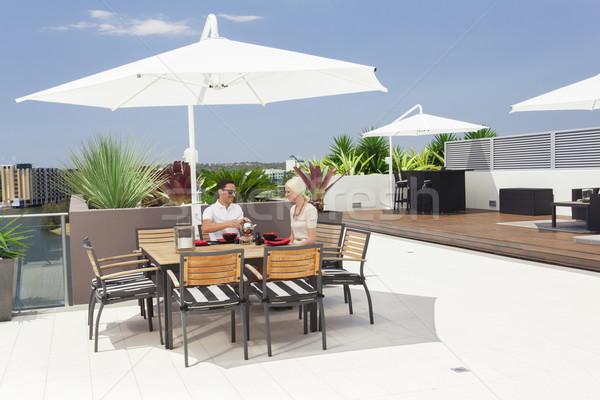 пару балкона завтрак современных Сток-фото © epstock