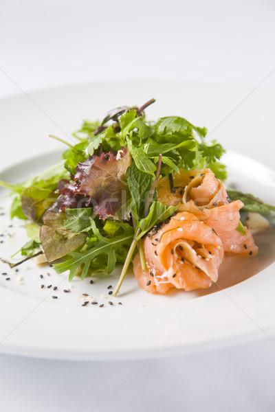 Somon salata susam gıda balık yeşil Stok fotoğraf © epstock