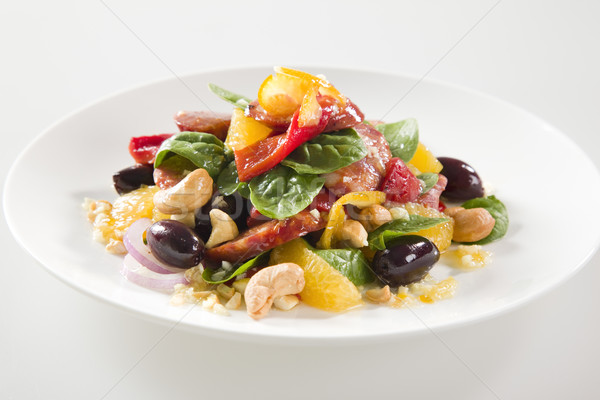 Tasty Fresh Salad with Chorizo and Nuts Stock photo © epstock