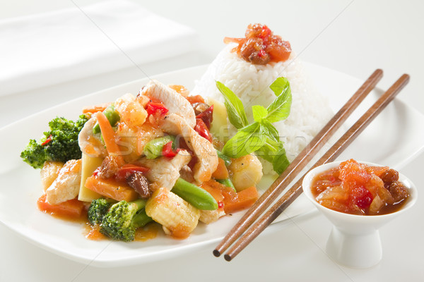 CHICKEN STIR FRY WITH RICE Stock photo © epstock