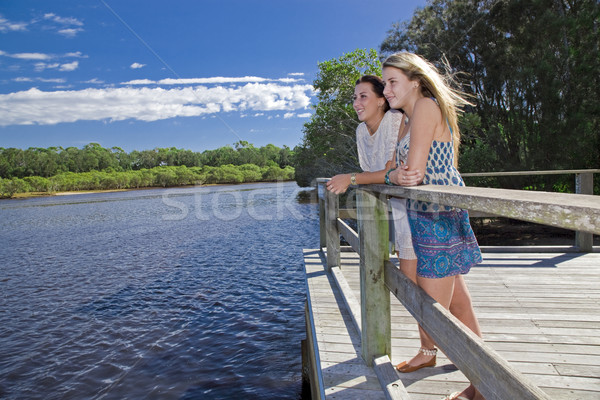 two girls looking out from  viewing platform by the creek Stock photo © epstock