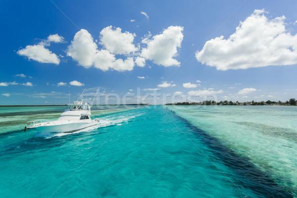 Afbeelding vissersboot zeilen strand water Stockfoto © epstock