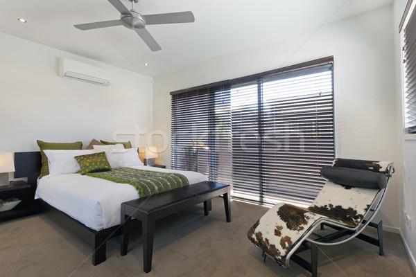 Verdubbelen slaapkamer stijlvol australisch herenhuis venster Stockfoto © epstock