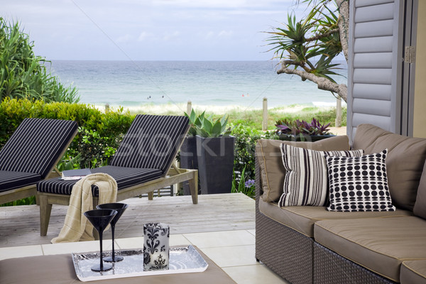 beautiful waterfront suite with ocean and beach views Stock photo © epstock